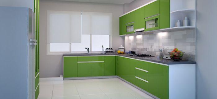 Tủ bếp nhôm kính màu xanh mẫu 1