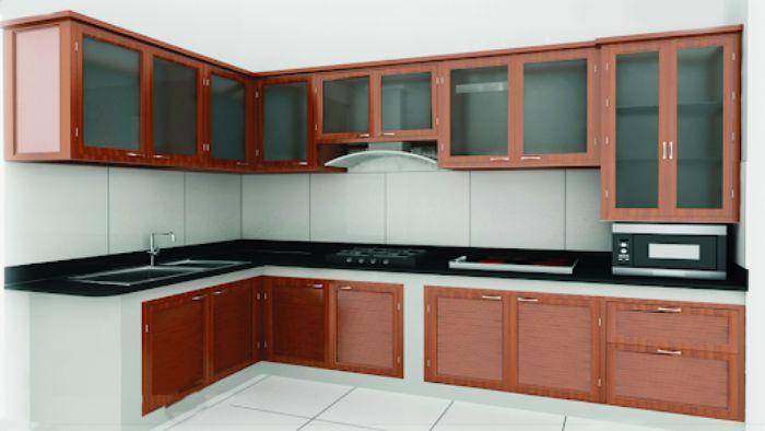 Tủ bếp nhôm kính treo tường vân gỗ mẫu 3