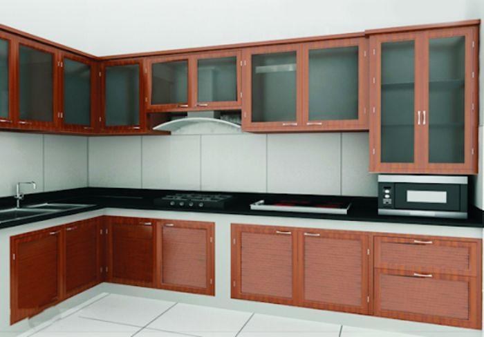 Tủ bếp nhôm kính giả gỗ mẫu 2