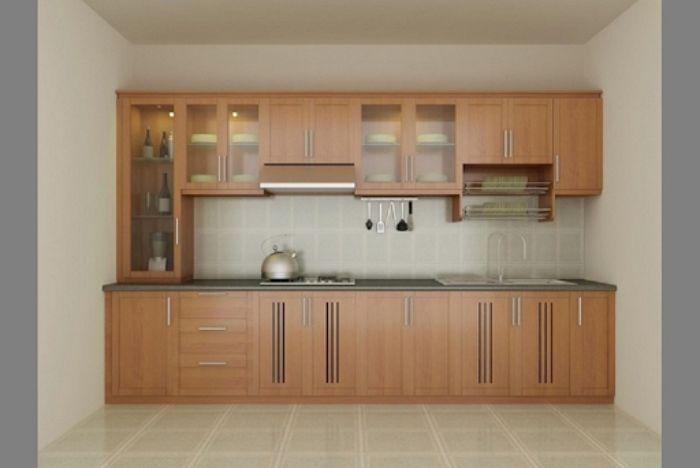 Tủ bếp nhôm kính giả gỗ mẫu 3