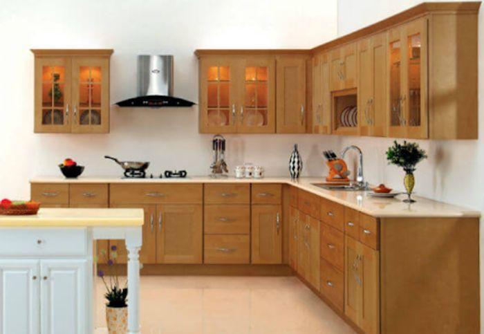 Tủ bếp nhôm kính giả gỗ mẫu 4