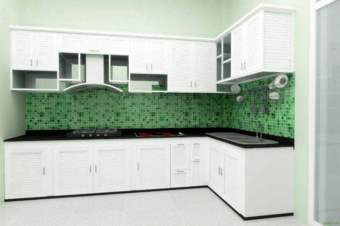 Mẫu tủ bếp nhôm kính trắng hiện đại và sang trọng