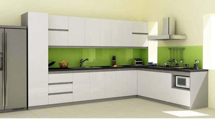 Tủ bếp nhôm kính màu trắng cho không gian nhỏ mẫu 3