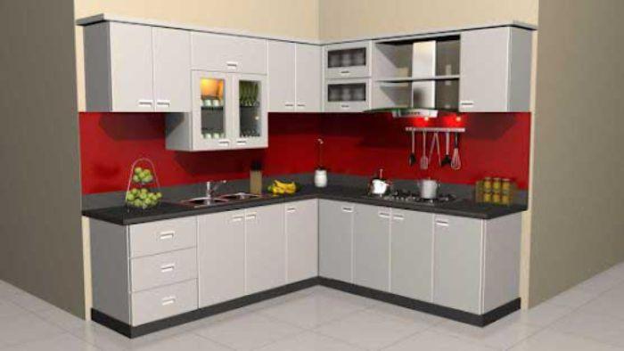 Tủ bếp nhôm kính màu trắng cho không gian nhỏ mẫu 4