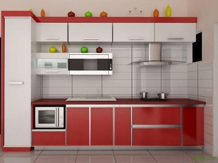 Tủ bếp nhôm kính treo tường sơn tĩnh điện mẫu 2