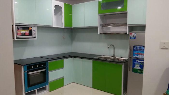 Tủ bếp nhôm kính treo tường sơn tĩnh điện mẫu 3