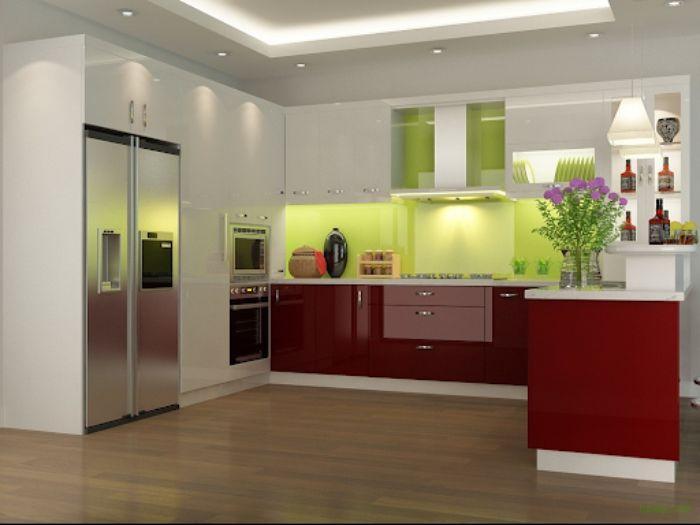 Tủ bếp nhôm kính treo tường màu xanh mẫu 2