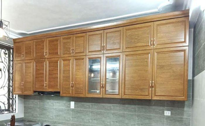 Tủ bếp nhôm xingfa kính treo tường mẫu 3
