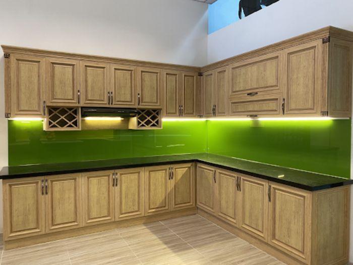 Tủ bếp nhôm kính treo tường chữ L mẫu 4