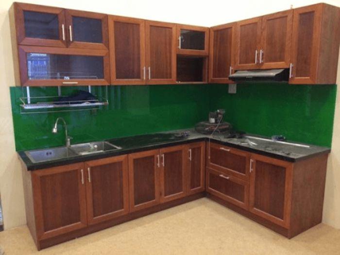 Tủ bếp nhôm kính treo tường giả gỗ mẫu 3