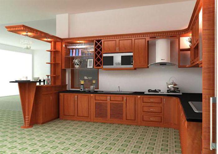 Tủ bếp nhôm kính vân gỗ sơn tĩnh điện mẫu 2