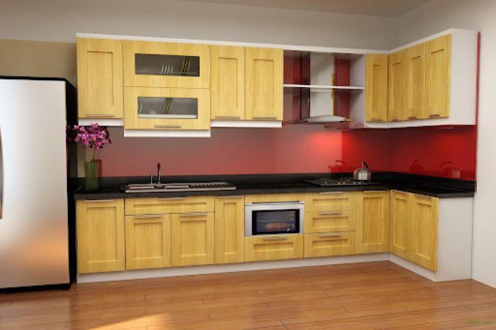 Tủ bếp nhôm kính vân gỗ sơn tĩnh điện mẫu 4