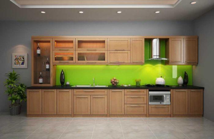 Tủ bếp nhôm kính vân gỗ 2 tầng mẫu 1