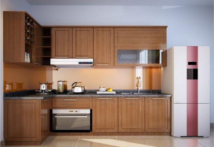 Tủ bếp nhôm kính vân gỗ chữ L mẫu 2