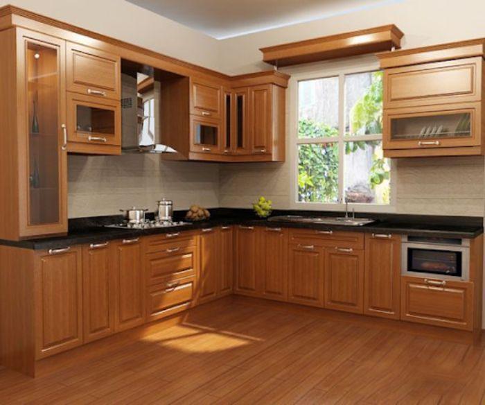 Tủ bếp nhôm kính vân gỗ chữ L mẫu 3