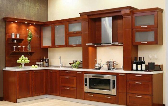 Tủ bếp nhôm kính vân gỗ chữ L mẫu 4