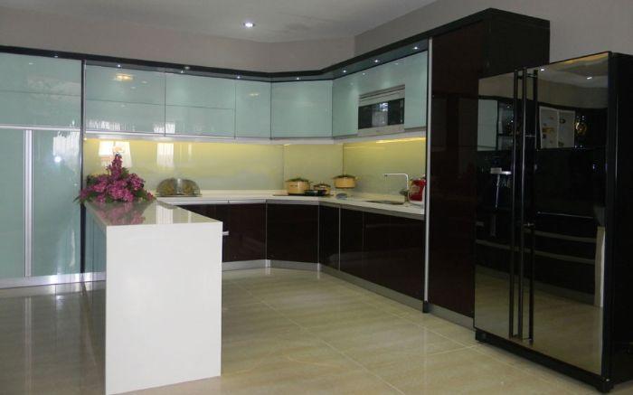 Tủ bếp nhôm xingfa màu xanh mẫu 3