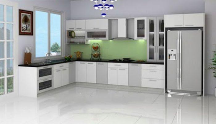 Tủ bếp nhôm xingfa màu trắng mẫu 3