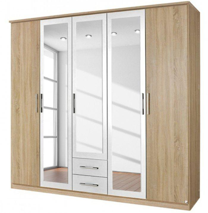 Tủ nhôm kính đựng quần áo có thiết kế kết hợp màu trắng và vân gỗ độc đáo