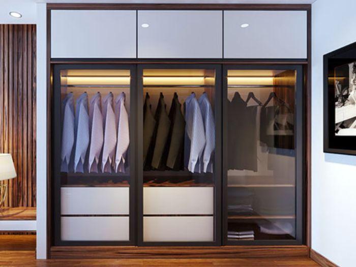 Tủ nhôm đựng quần áo có gắn kính cường lực
