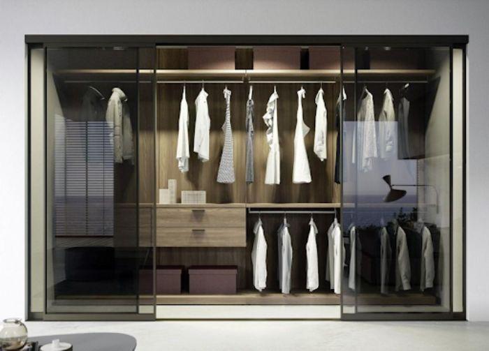 Tủ đựng quần áo nhôm kính nhiều cánh màu trầm