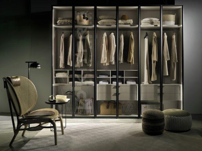 Tủ đựng quần áo nhôm kính 4 buồng màu giả vân gỗ sơn tĩnh điện