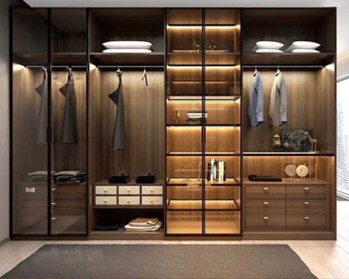 Tủ nhôm kính đựng quần áo màu đen sang trọng