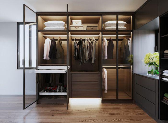 Tủ nhôm kính đựng quần áo giả gỗ