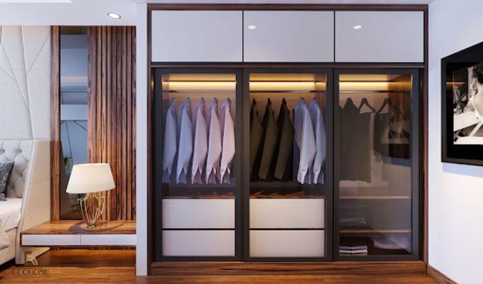 Tủ nhôm kính đựng quần áo màu đen