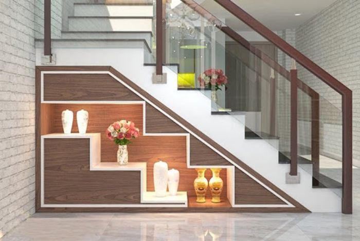 Tủ nhôm kính trang trí gầm cầu thang tuyệt đẹp