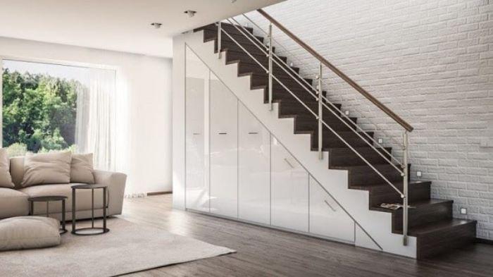 Tủ nhôm kính gầm cầu thang kéo dọc