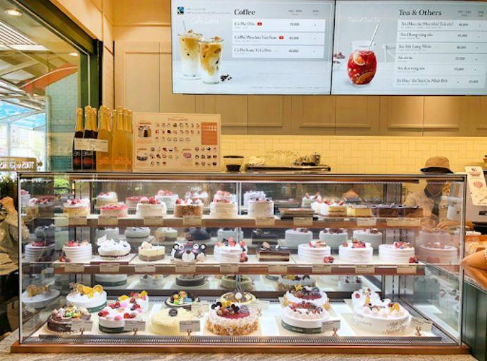 Tủ kính trưng bày đồ ăn, bánh kem, chè mẫu 4
