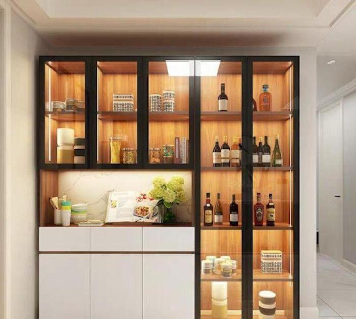 Tủ đựng rượu nhôm kính phòng bếp có thiết kế đơn giản nhưng tinh tế