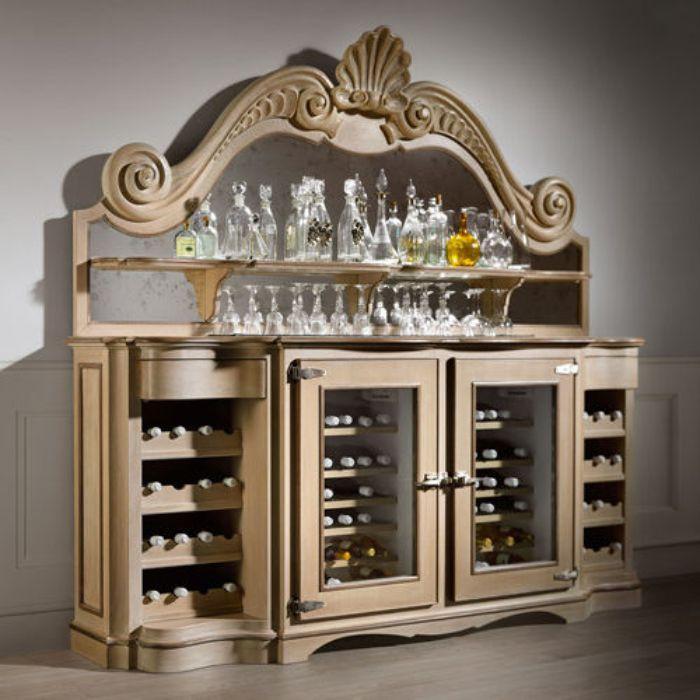 Tủ đựng rượu nhôm kính có thiết kế cổ điển quý phái