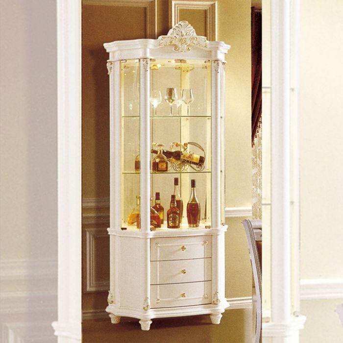 Mẫu tủ rượu nhôm kính màu trắng nhỏ xinh mang hơi hướng cổ điển