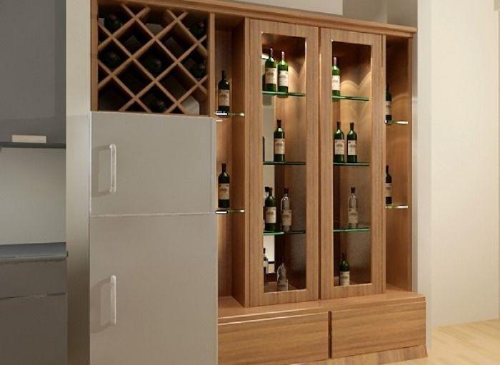 Mẫu tủ rượu nhôm kính giả gỗ