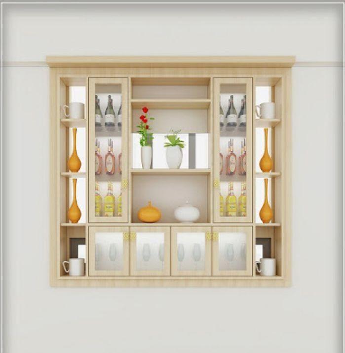Tủ đựng rượu nhôm kính màu trắng sữa âm tường