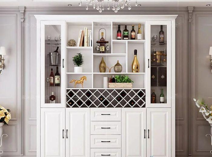 Tủ đựng rượu nhôm màu trắng nhẹ nhàng