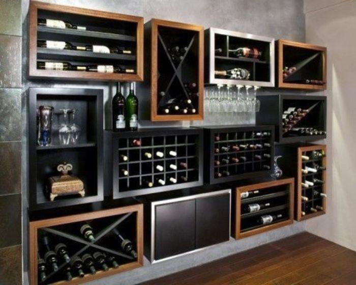 Mẫu tủ rượu nhôm kính với nhiều ngăn tầng hình ô vuông