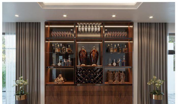 Mẫu tủ rượu nhôm kính vân gỗ sang trọng