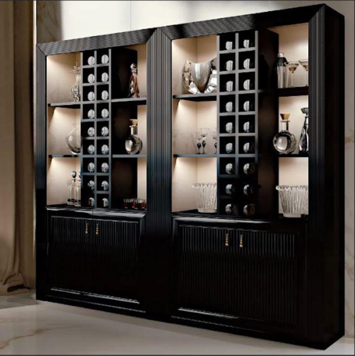 Tủ đựng rượu nhôm kính xingfa màu đen quý phái