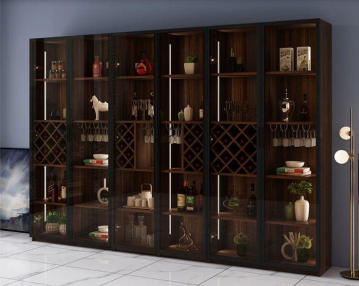 Tủ đựng rượu nhôm kính vân gỗ nhiều tầng