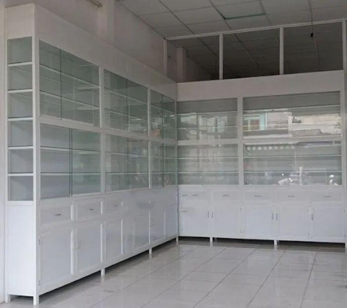 Tủ thuốc tây nhôm kính màu trắng mẫu 3