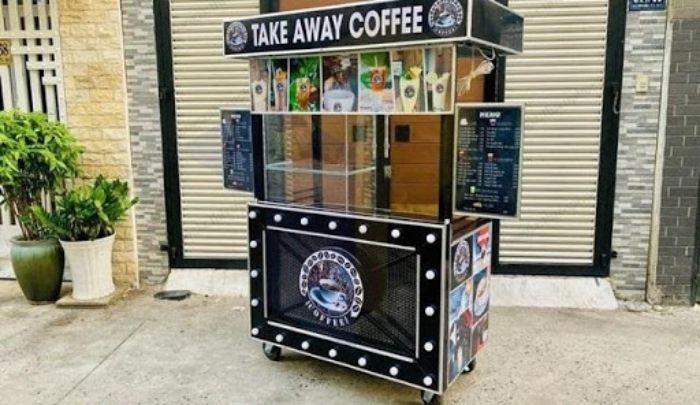 Xe đẩy inox 2 tầng bán cafe mang đi