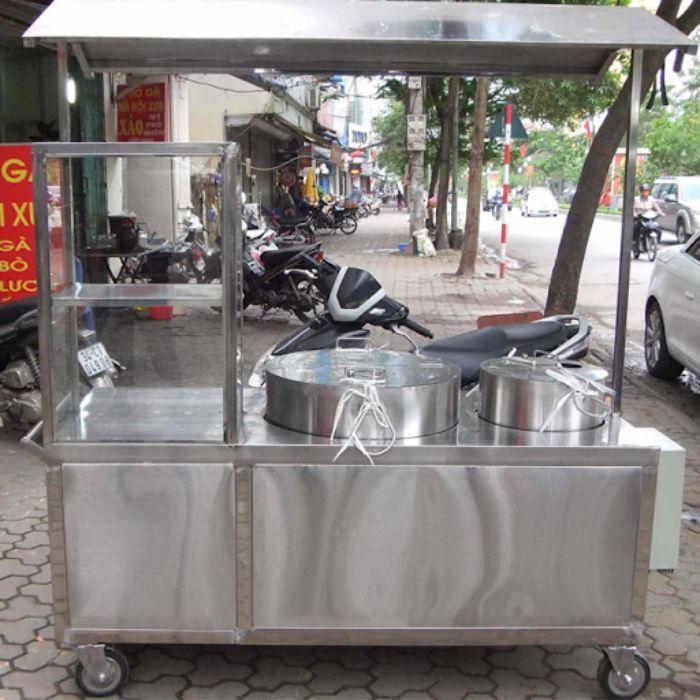 xe đẩy inox bán hàng hủ tíu mẫu 1