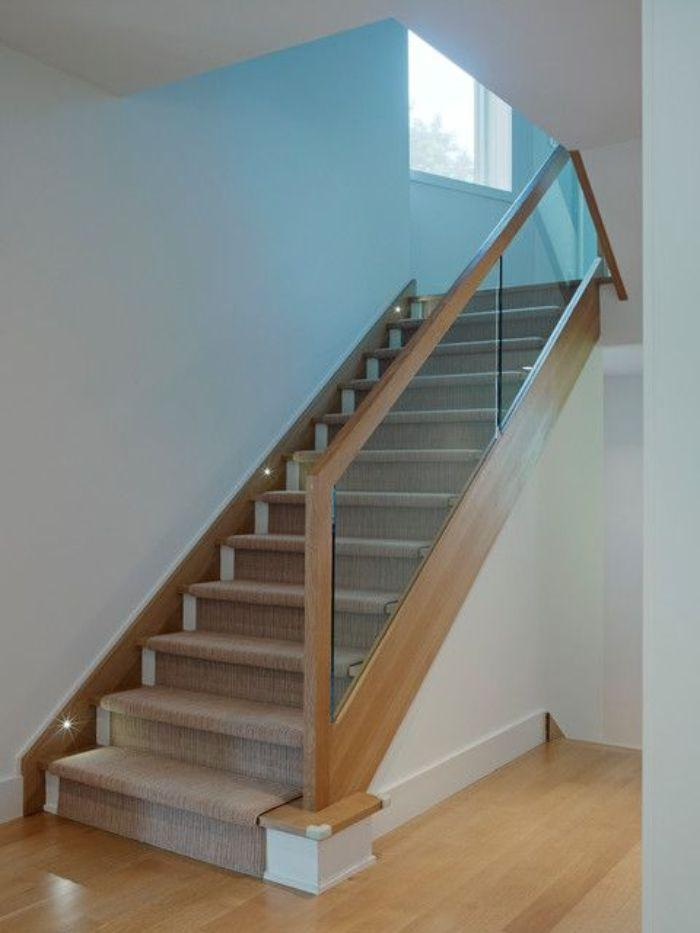 Mẫu cầu thang tay vịn gỗ vuông thiết kế trang nhã