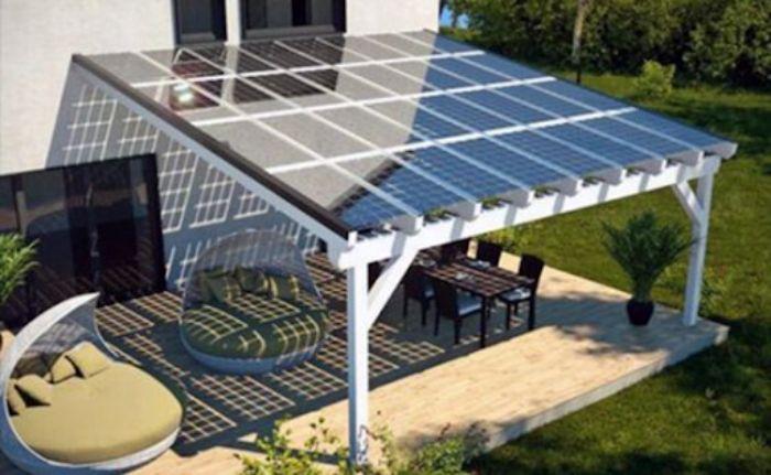Mái hiên nhôm kính lùa tích hợp pin năng lượng mặt trời
