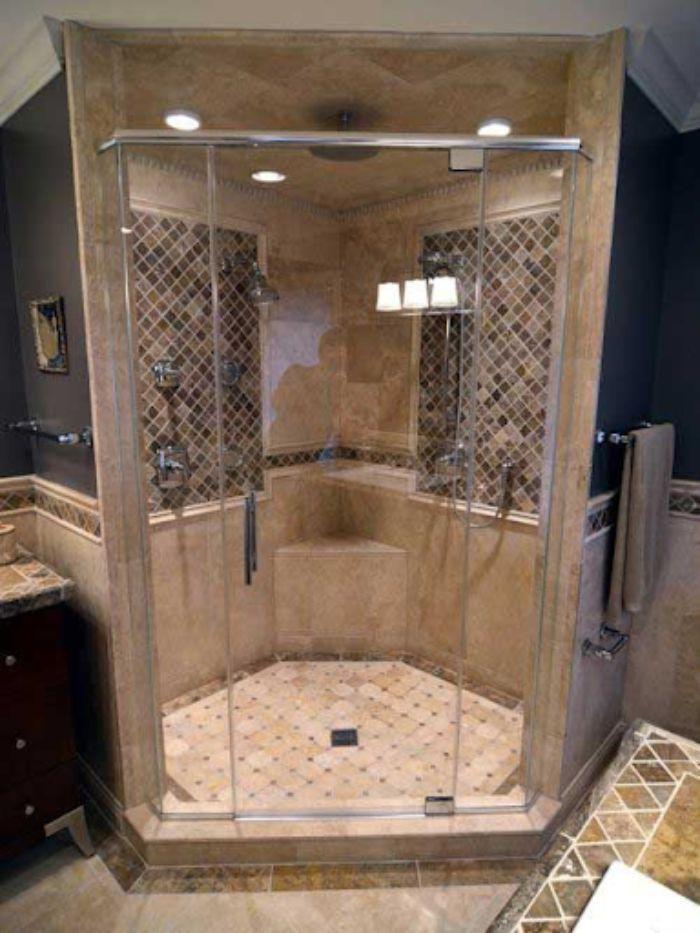 Phòng tắm kính 135 độ có cửa mở quay
