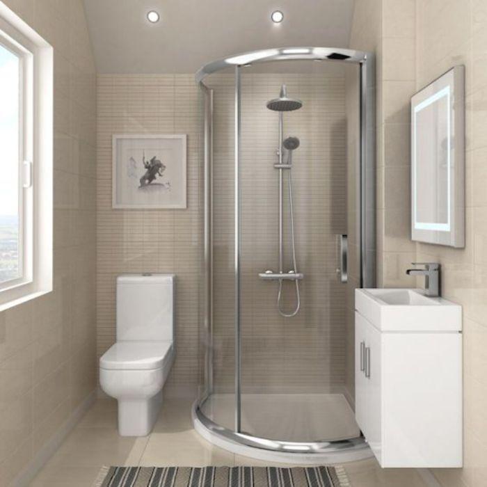 Phòng tắm kính góc có cửa mở quay