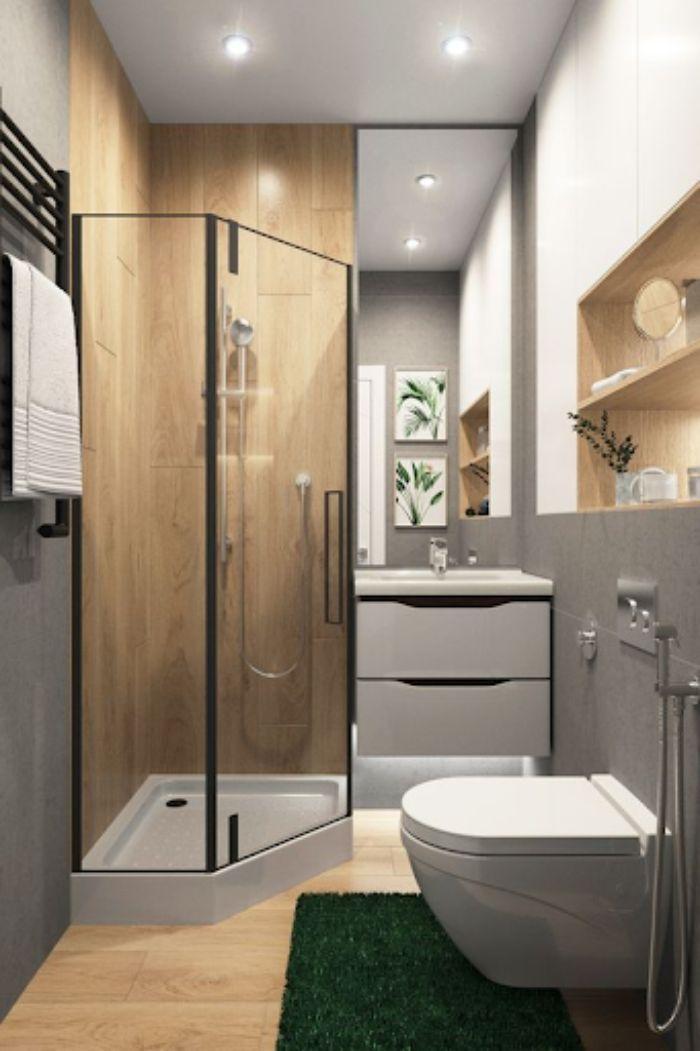 Phòng tắm kính cửa vát có lót gỗ phía trong